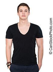 handsome man in black blank t-shirt