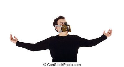 Young handsome man in black shirt and respirator