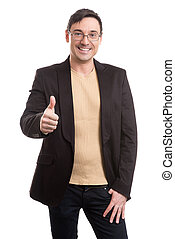 handsome man in black suit and glasses smiling