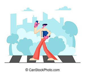 Young Handsome Man in Fashioned Clothing with Smartphone and Documents Folder in Hands Walking along Crosswalk in Big Busy City, Dweller Lifestyle, Spare Time, Traffic Cartoon Flat Vector Illustration