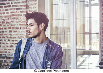 Young Handsome Man Outside Historic Building