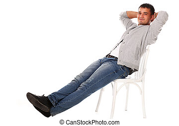 Young handsome man sitting on the chair