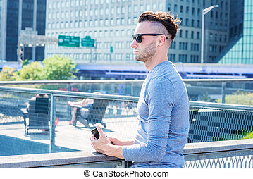 Young handsome Man traveling in New York City