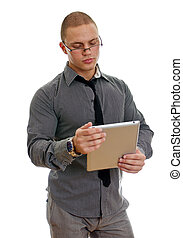 Young handsome man using tablet pc. Isolated on white