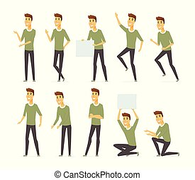 Young handsome man - vector cartoon people character set isolated on white background. Person in green sweatshirt, grey trousers in different positions. High quality images for creating your animation