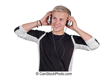Young handsome man with headphones