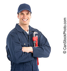 plumber worker - Young handsome plumber worker with ...