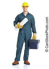 worker - Young handsome plumber worker with adjustable ...