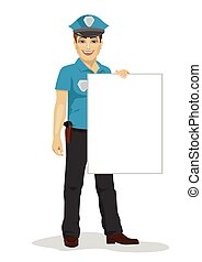 young handsome policeman holding blank board over white background