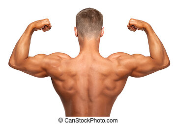 man showing double biceps