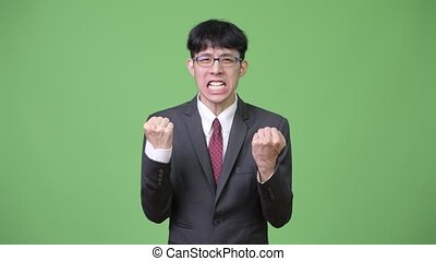 Young happy Asian businessman excited with both fists raised...