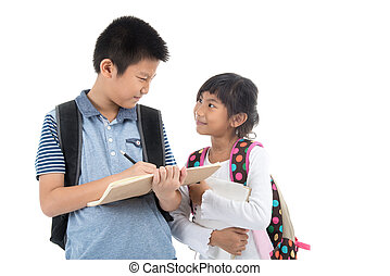 Young happy Asian students over white background