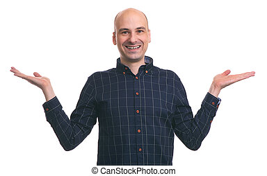 Young happy bald man gesturing with hands