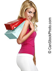 young happy beautiful blonde woman go to shopping