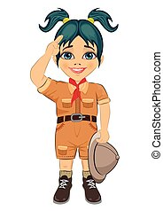 Young happy boy scout girl doing a hand sign and holding Safari hat