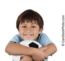 Young happy boy with soccer ball