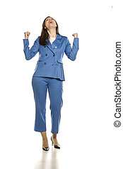 Young happy business woman on white background