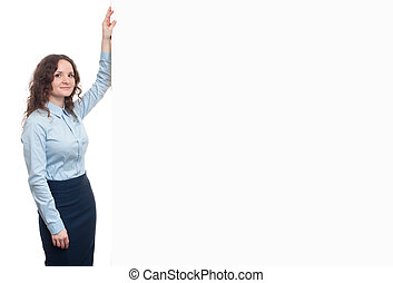 business woman with blank advertising board with copy space