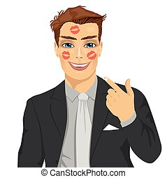 young happy businessman showing red lipstick kiss marks on face isolated over white background