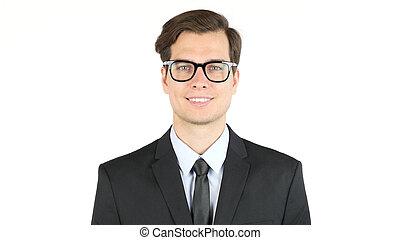 Young happy businessman smiling  , portrait