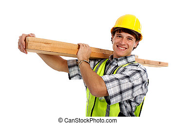 Young Happy Carpenter Holding Building Materials