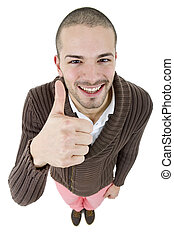 thumb up - young happy casual man, full body, going thumb...