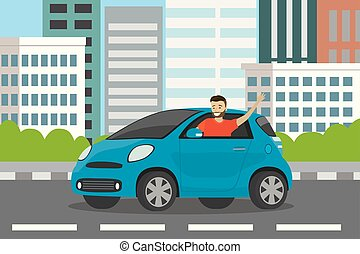Young happy caucasian man auto driver rides in blue car,