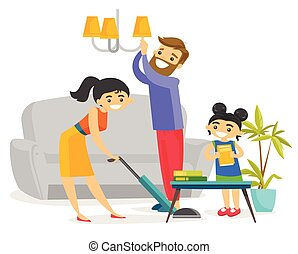 Young happy caucasian white family cleaning house.