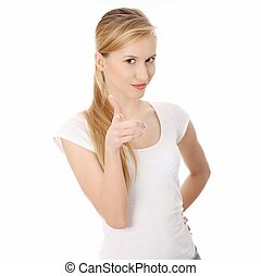 Young happy caucasian woman pointing on you