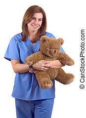 Childrens Nurse - Young Happy Childrens Nurse With Teddy...