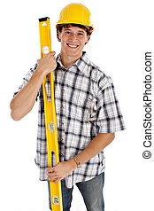 Young Happy Construction Worker on Isolated Background