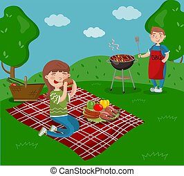 Young happy couple cooking and eating bbq while sitting in the garden, barbecue party in summer holiday cartoon vector Illustrations
