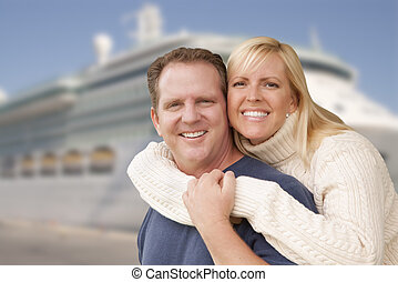 Young Happy Couple In Front of Cruise Ship - Young Happy...