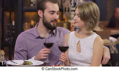 Young happy couple romantic valentine day