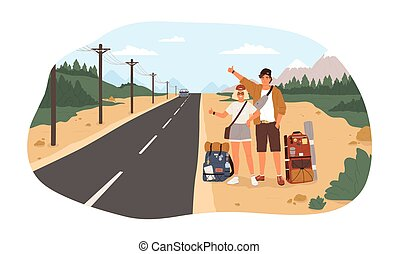 Young happy couple with backpacks standing near road and hitchhiking. Cute smiling man and woman thumbing or hitching ride. Adventure travel, road trip, tourism. Flat cartoon vector illustration.