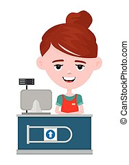 Young happy cute smiling cashier woman