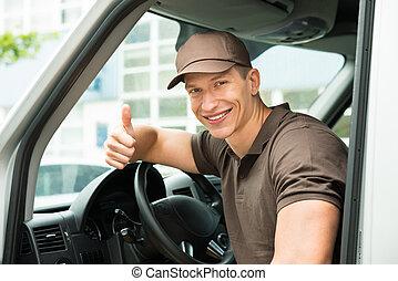 Deliverymen Showing Thumb Up Sign In Van