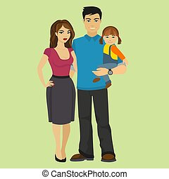 Young happy Family vector illustration.