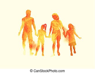 Young Happy Family watercolour Vector - A young happy family...