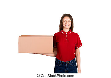 Young happy female delivery with a package in her hands isolated on white background