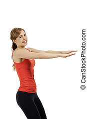 young happy fitness woman exercising with her arms on white background