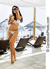 Young happy girl enjoying summer