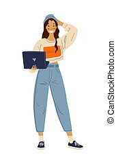 Young happy girl with a laptop in her hands. A woman stands and communicates on a computer. Student or schoolgirl. Social networks, the use of gadgets and the Internet. Vector illustration.