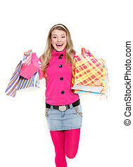young happy girl with shopping bags