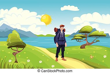 Young happy man, backpacker on the seaside. Hiker, Explorer. Vector Illustration.