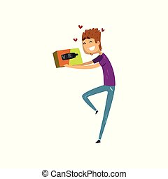 Young happy man cartoon character holding virtual reality box, gaming cyber technology, virtual reality concept vector Illustration on a white background