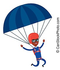 Young happy man flying with parachute. - African-american...