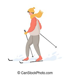 Young happy man in winter outwear skiing on snow vector flat cartoon illustration.