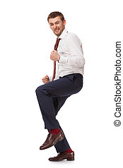 Young happy man isolated on white background