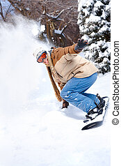 Winter sport - Young happy man with snowboard. Winter sport...